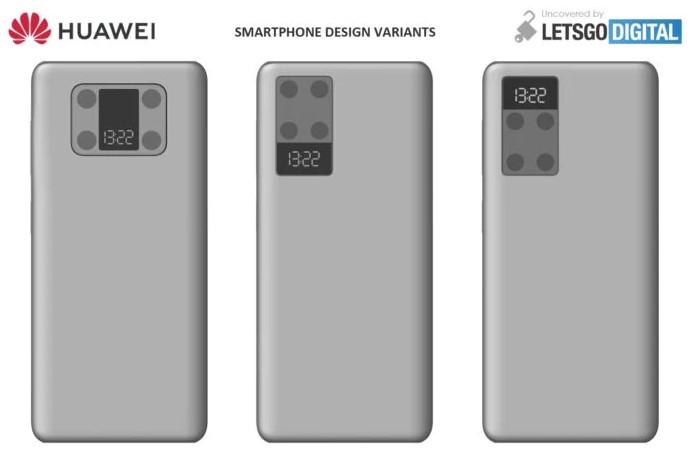 Компания Huawei запатентовала концепцию смартфона с дополнительным экраном возле камеры