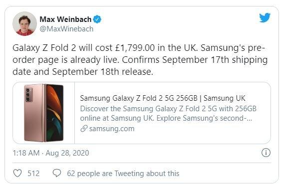 Неожиданно: флагман Samsung Galaxy Z Fold 2 5G будет дешевле предшественника