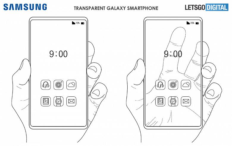 Впечатляющие рендеры полностью прозрачного смартфона от Samsung